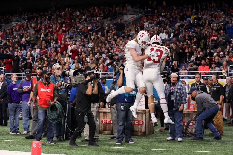Stanford wide receiver JJ Arcega-Whiteside celebrates after a completed touchdown reception in the first half.