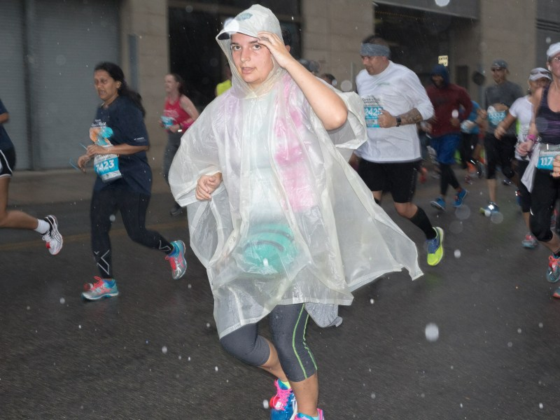 Rock 'n' Roll Marathon participants compete in long distance running through San Antonio, Texas.