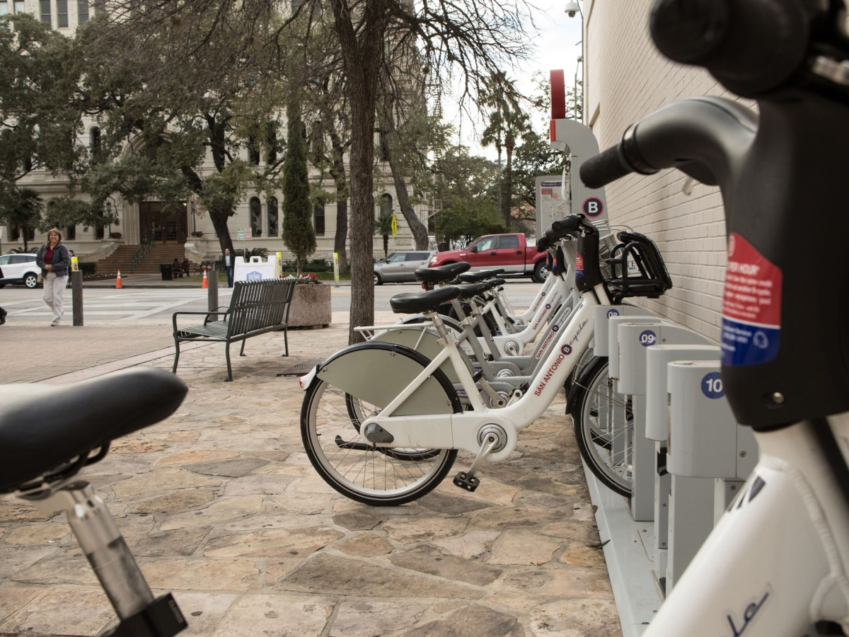 Bcycle bicycles are parked at the B-station in Main Plaza.