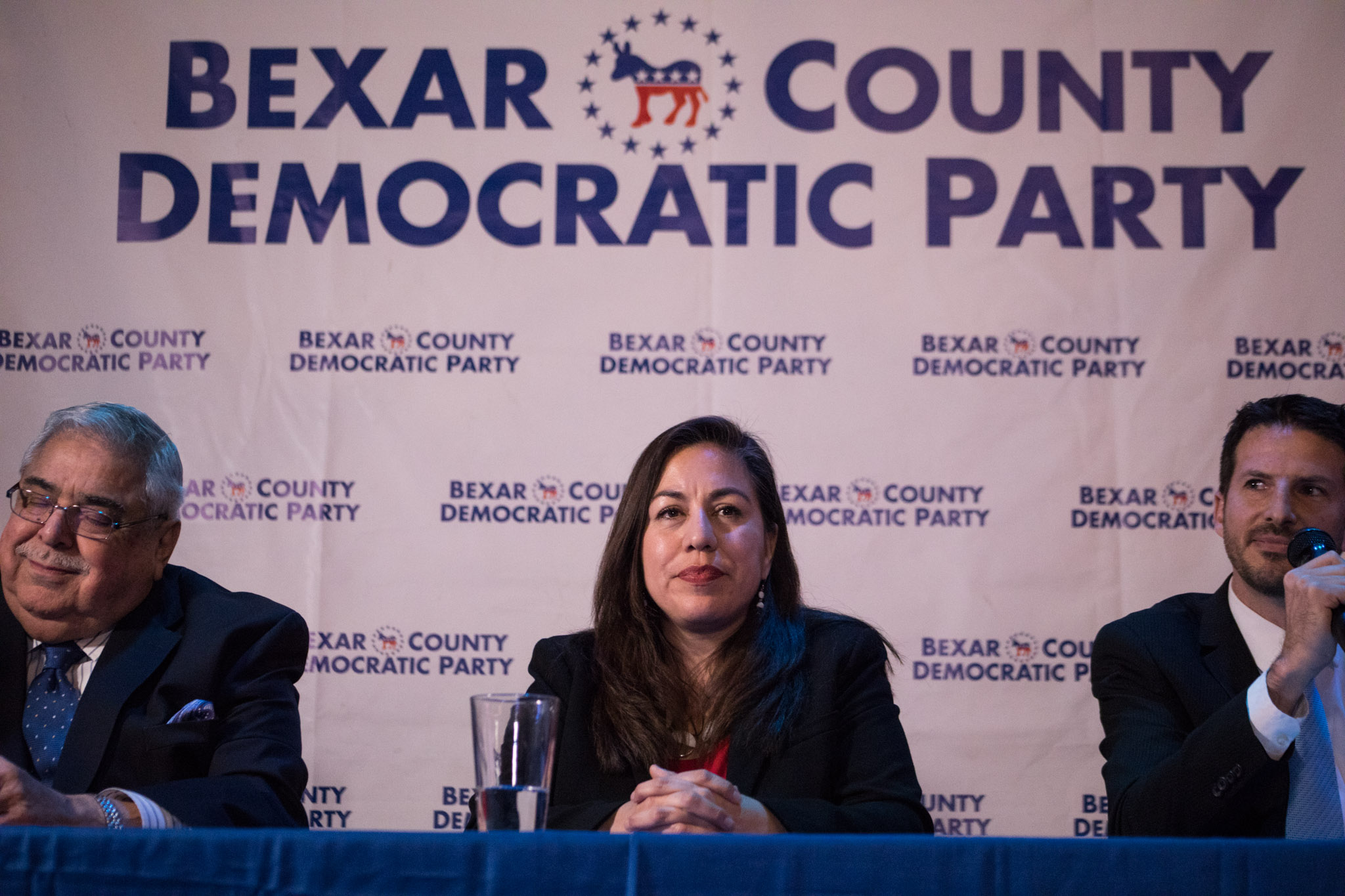 Democratic primary candidates (from left) Bexar County Commissioner Paul Elizondo (Pct. 2), Queta Rodriguez, and Mario Bravo debate Tuesday night on how they would govern Bexar County's second precinct.