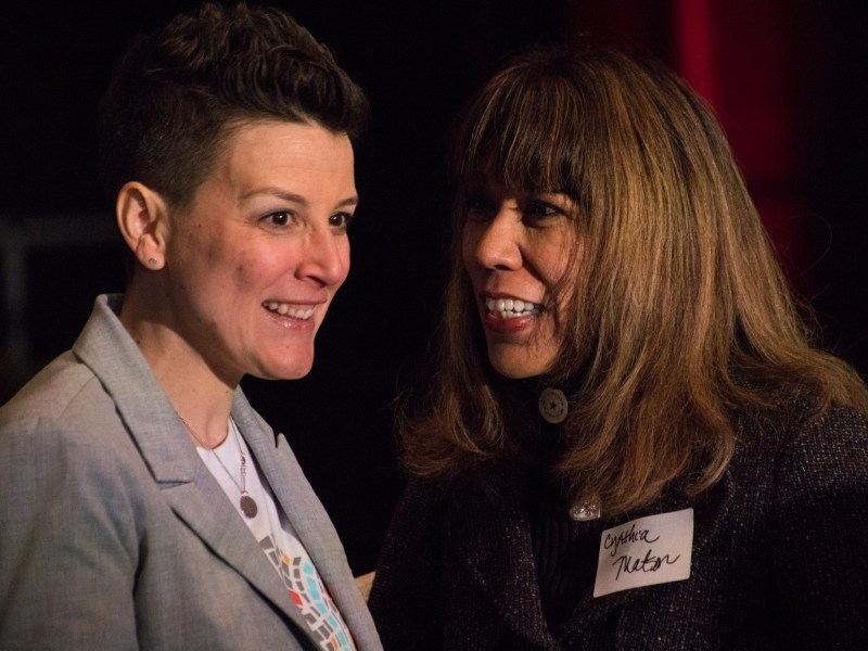 SA2020 CEO Molly Cox (left) speaks with Texas A&M-San Antonio President Cynthia Teniente-Matson at the 2017 Impact Report luncheon.