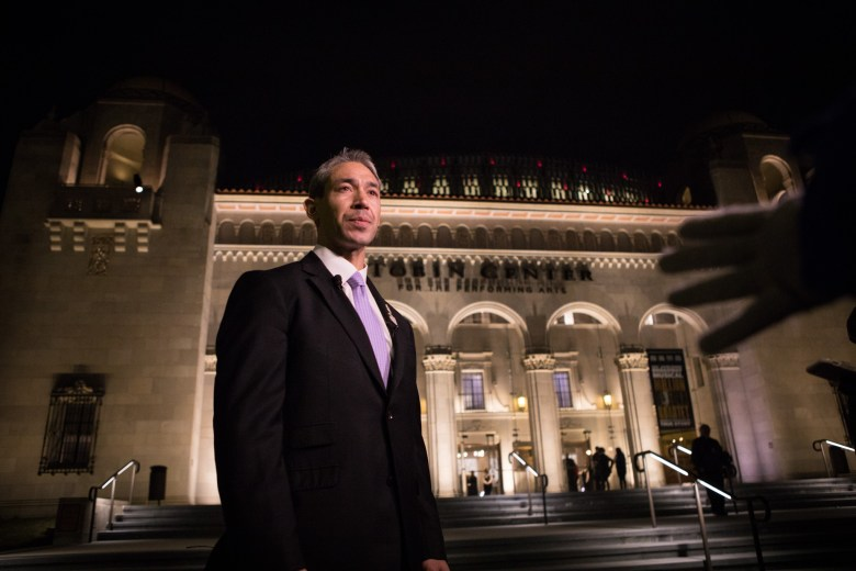 Mayor Ron Nirenberg speaks about the future of the San Antonio Symphony in front of the Tobin Center of the Performing Arts before the second of two Tricentennial concerts.