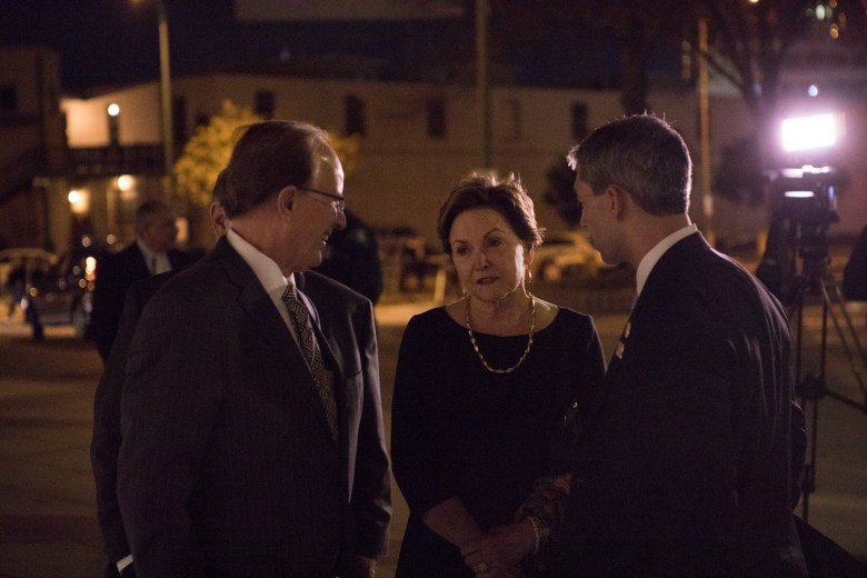 (From left) Bexar County Judge Nelson Wolff, the new chairwoman of the Symphony Society of San Antonio Kathleen Weir Vale, and Mayor Ron Nirenberg chat before the second of two Tricentennial concerts.