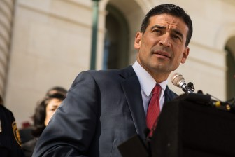 Bexar County District Attorney Nico LaHood speaks about Human Trafficking Awareness Day in front of City Hall.