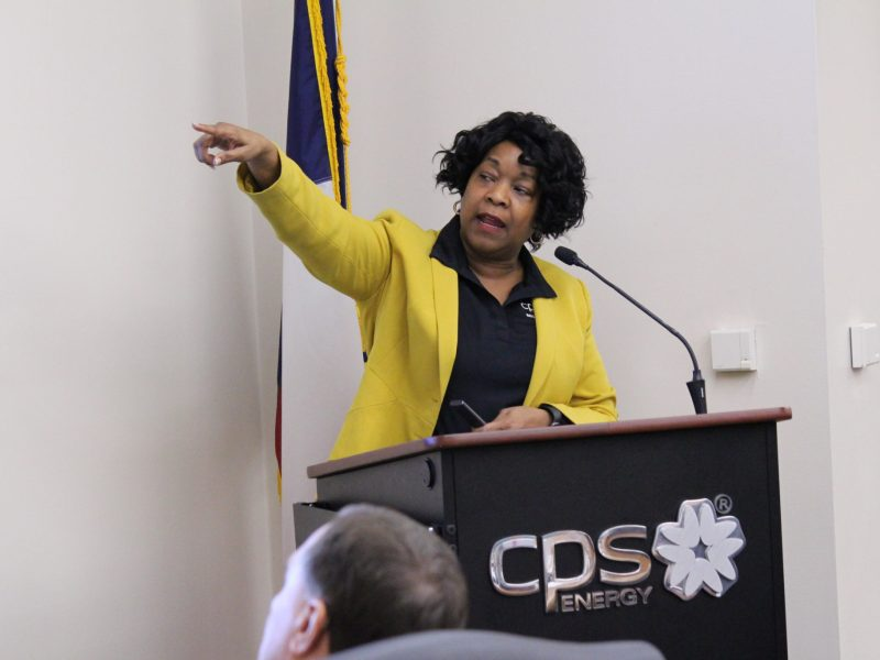 CPS Energy President and CEO Paula Gold-Williams discusses the utility's 2017 performance at a board meeting on Monday, Jan. 29, 2018.