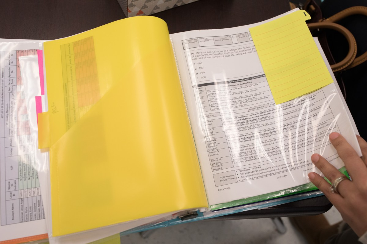 STAAR Test prep is filed away in teachers 'data binders.'
