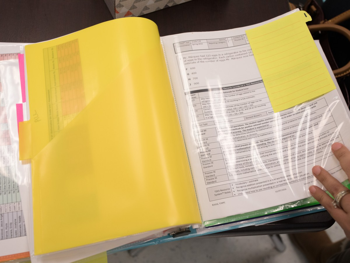 STAAR Test prep is filed away in teachers 'data binders.'