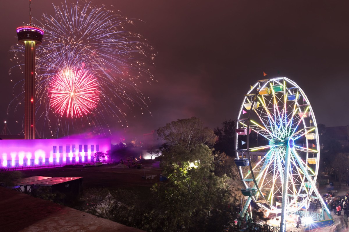 Fireworks ring in the new year celebrating San Antonio's 300th year as a city.