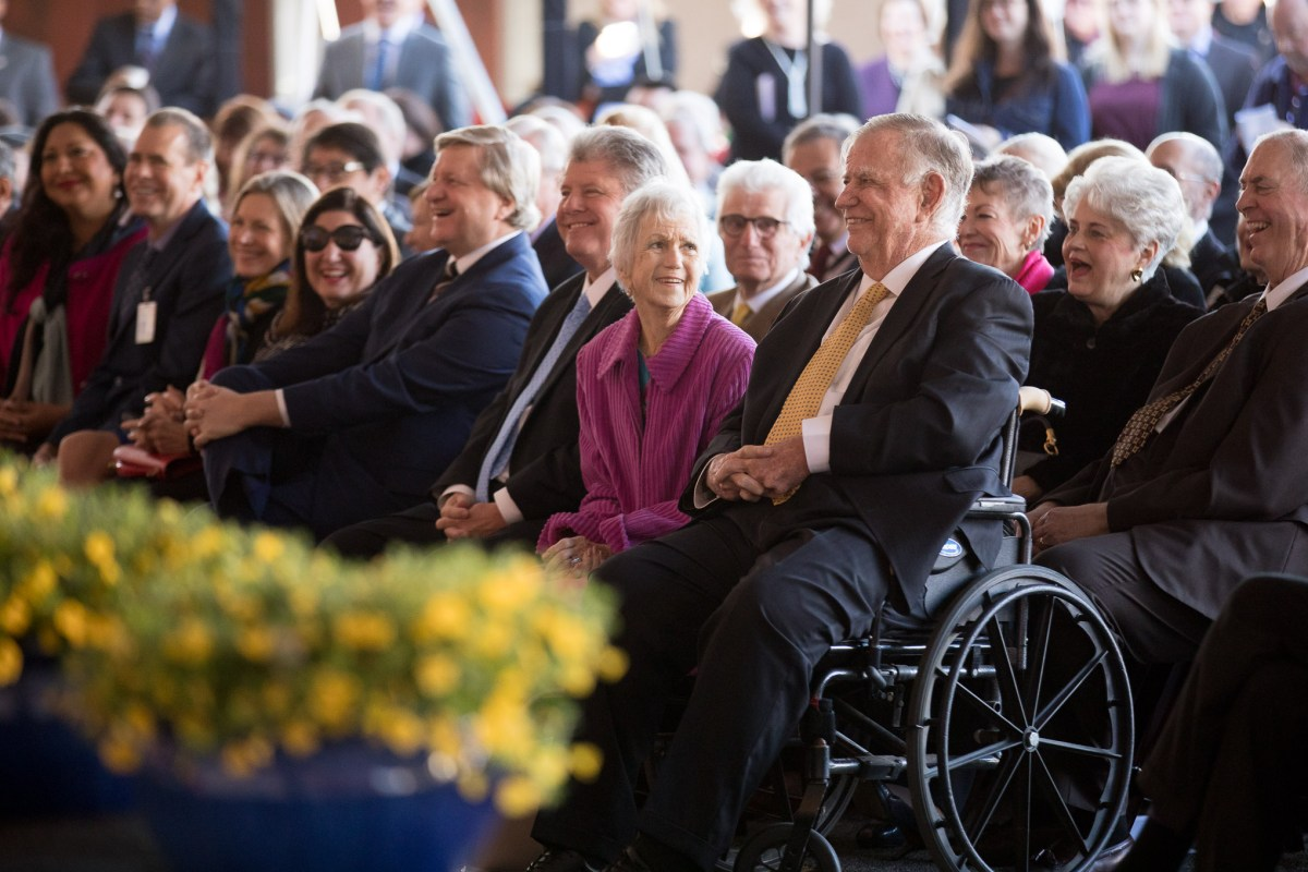 Lowry Mays and his wife Peggy attend the ceremony following the $25 million donation to UT Health Cancer Center.