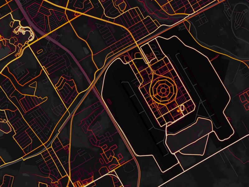 Randolph Air Force Base as seen by a Strava heat map of its users.