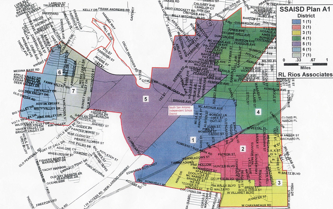 The South San Antonio ISD Redistricting Plan by district.