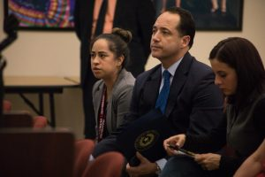 State Sen. José Menéndez (D26) attends the Edgewood ISD school board meeting regarding the investigation of Emilio Castro.