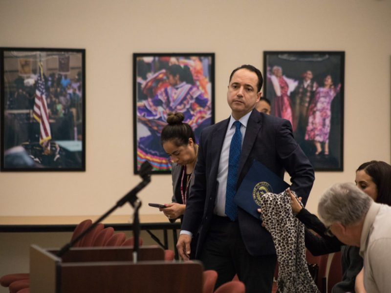 State Sen. José Menéndez (D26) attends the Edgewood ISD school board meeting regarding the investigation of Emilio Castro.