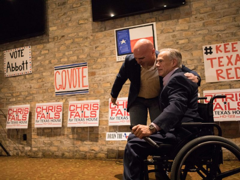 Hollywood Park Mayor Chris Fails greets Governor Greg Abbott at a campaign event at Alamo Cafe.