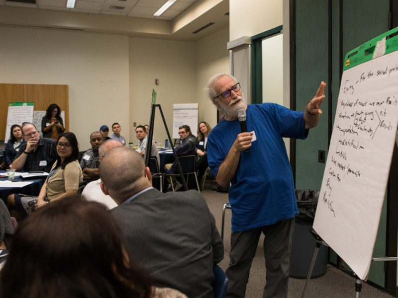 Stuart Birnbaum presents his group's ideas at SA Climate Ready Town Hall at UTSA Downtown.