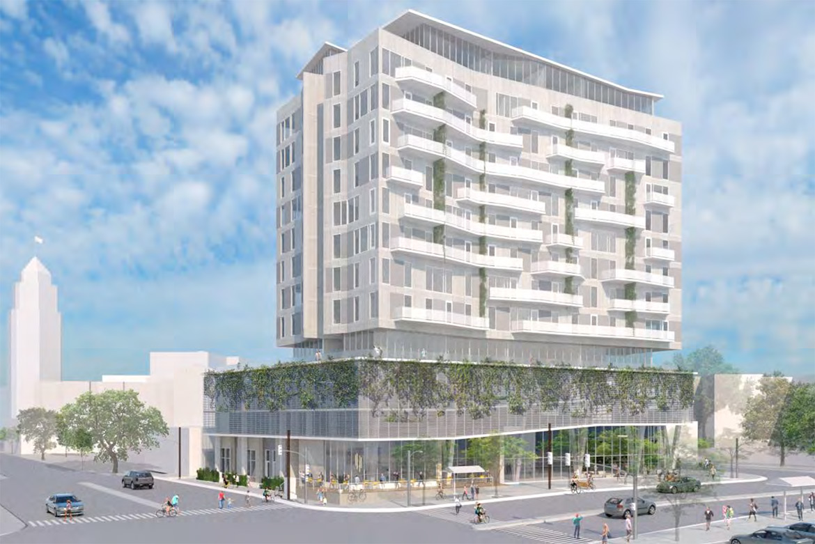 A rendering of the proposed Durango Apartments at 421 S. Presa.