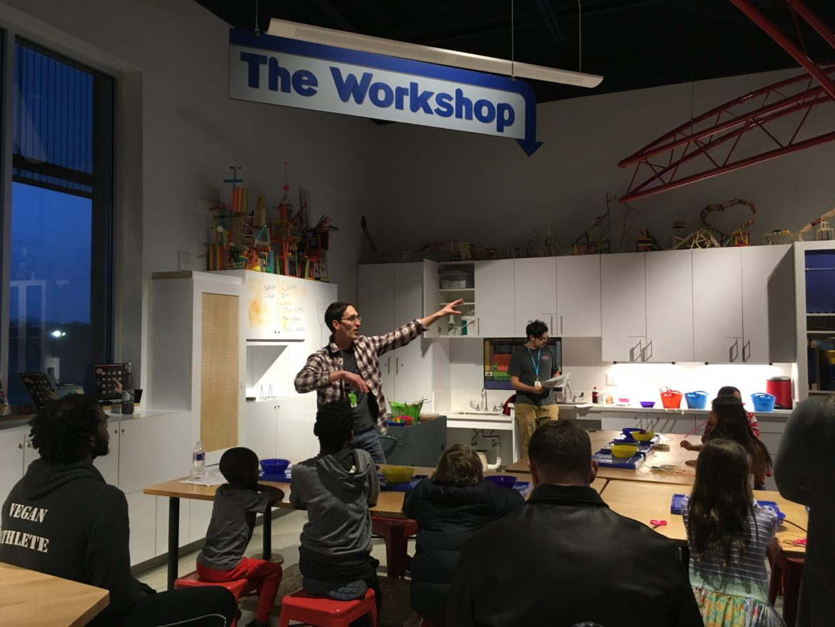 """DoSeum education team """"Discovery Leaders"""" Clint Taylor and Miguel Garcia lead a prosthetics-design practice workshop for kids, during a Feb. 22 Community Conversation input session for the upcoming """"Dream Tomorrow Today"""" Tricentennial exhibition."""
