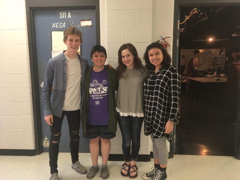 The NESA News team, from left, Clayton Anderson, Dillon Reyes, Maeve Armand, Marisa Barrera (Katerina Damm not pictured).