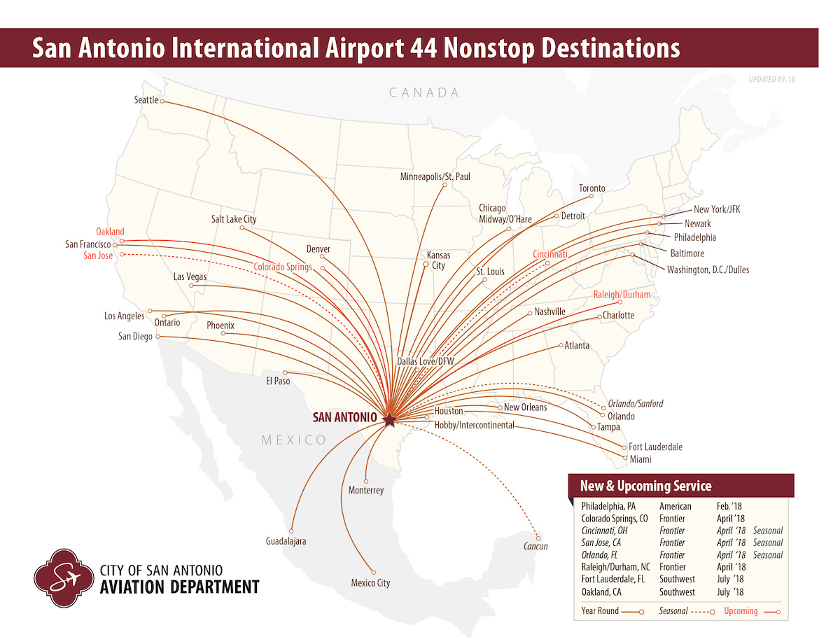 44 destinations are now available for nonstop flights departing from San Antonio International Airport.