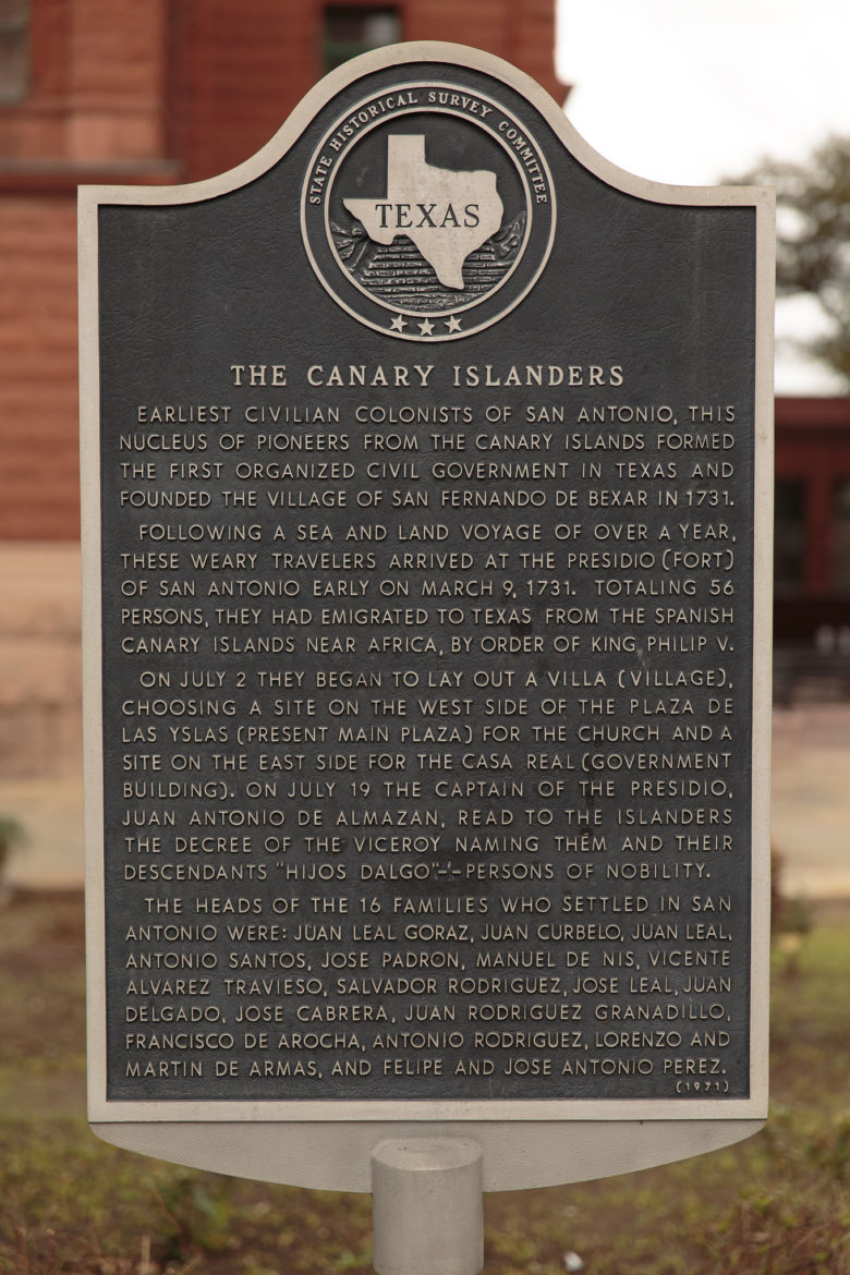 A Texas historical marker depicts the settlement and organization of Canary Islanders in 1731.