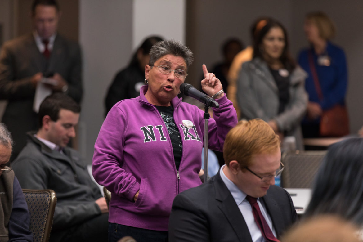Dignowity Hill resident Liz Franklin brings up concerns during the meeting.