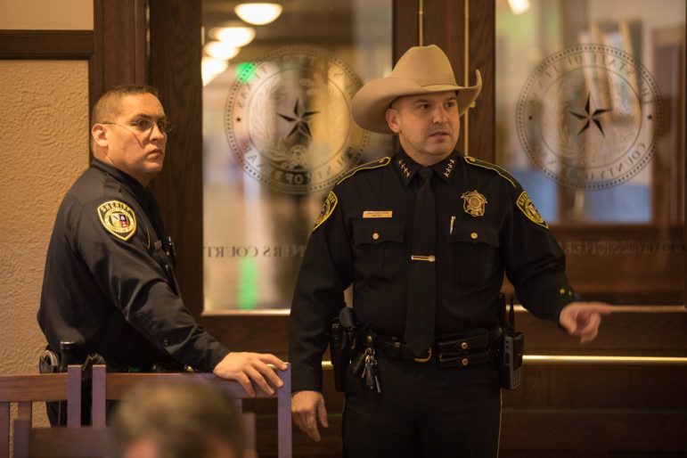 Bexar County Sheriff Javier Salazar (right) is seeking a new body camera system for his department.