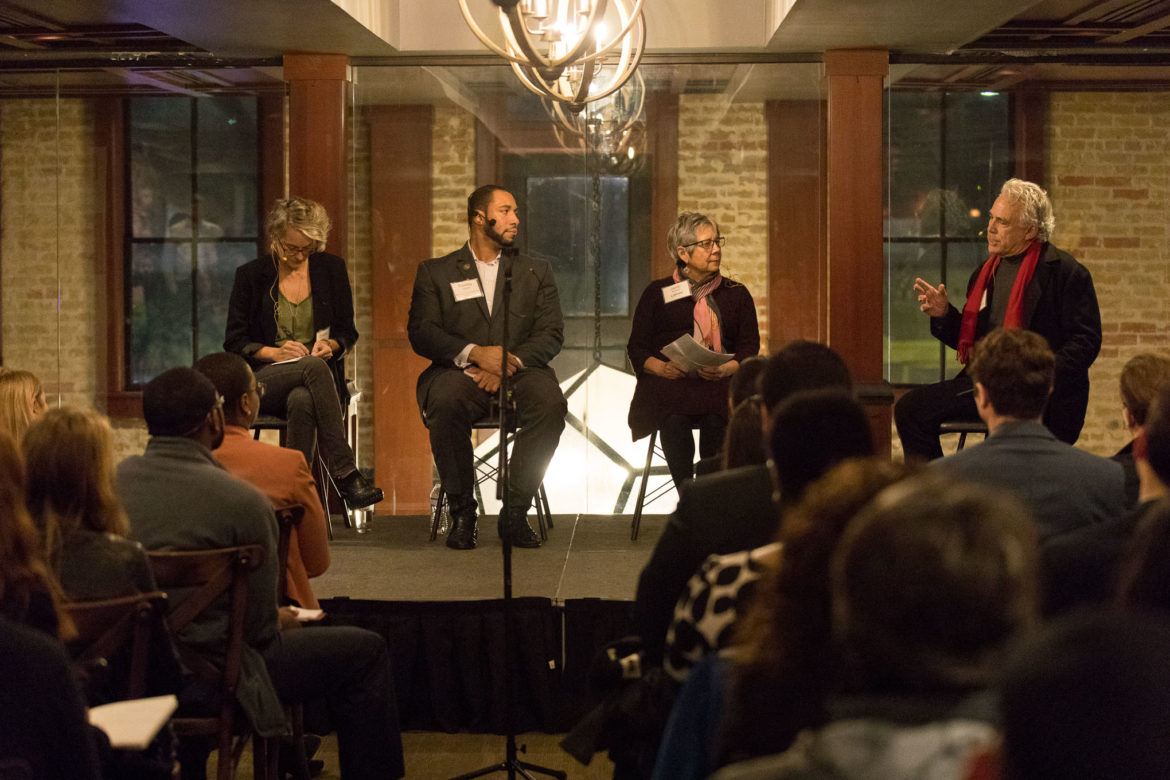 (from left) Christine Drennon Director of Urban Studies at Trinity University, Bexar County Commissioner Tommy Calvert (Pct. 4), LiftFund President and CEO Janie Barrera, and Rivard Report Publisher Rober Rivard participate in a panel titled 'Capitalism: A Tool for Social Justice.' at Smoke on East Commerce Street.