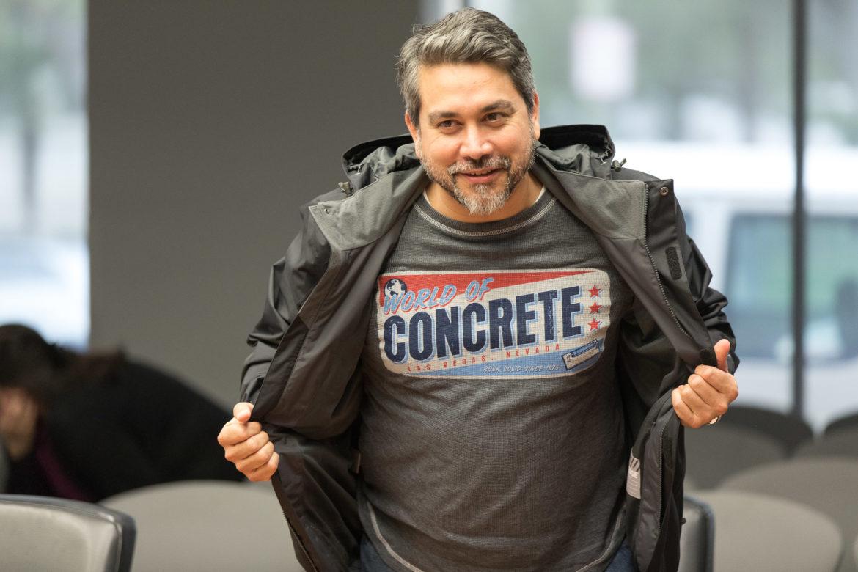Councilman Roberto Treviño (D1) shows off his 'World of Concrete' from Las Vegas, NV.