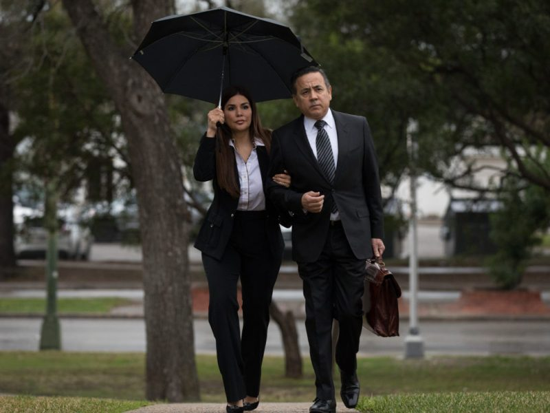 State Senator Carlos Uresti approaches the Federal Courthouse with his wife Lleanna on Tuesday morning.