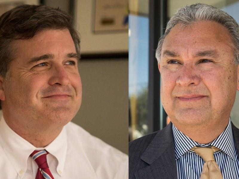 Bexar County District Attorney candidates Republican Tylden Shaeffer (left) and Democrat Joe Gonzales