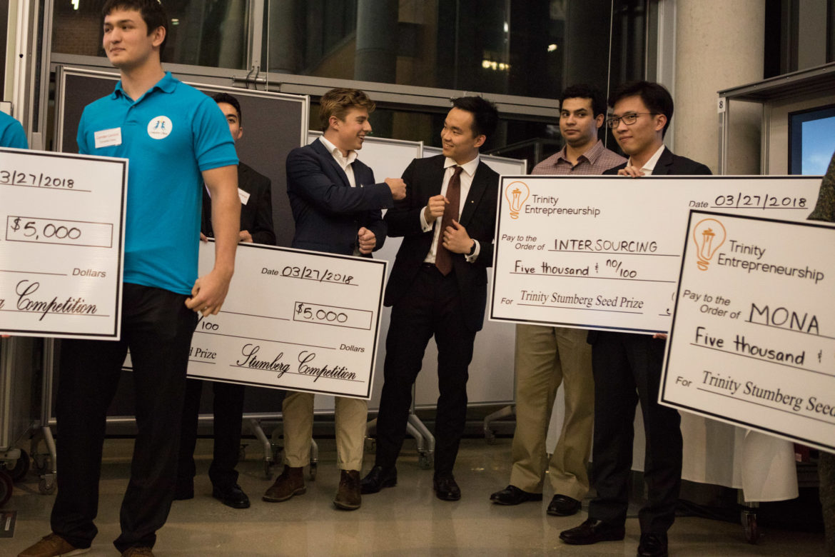 Five student groups at Trinity University receive $5,000 checks at the Louis H. Stumberg Venture Competition.