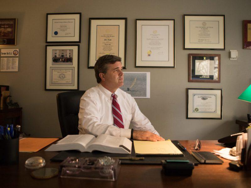 Tylden Shaeffer in his office