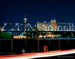 The historic Hays Street Bridge at night.