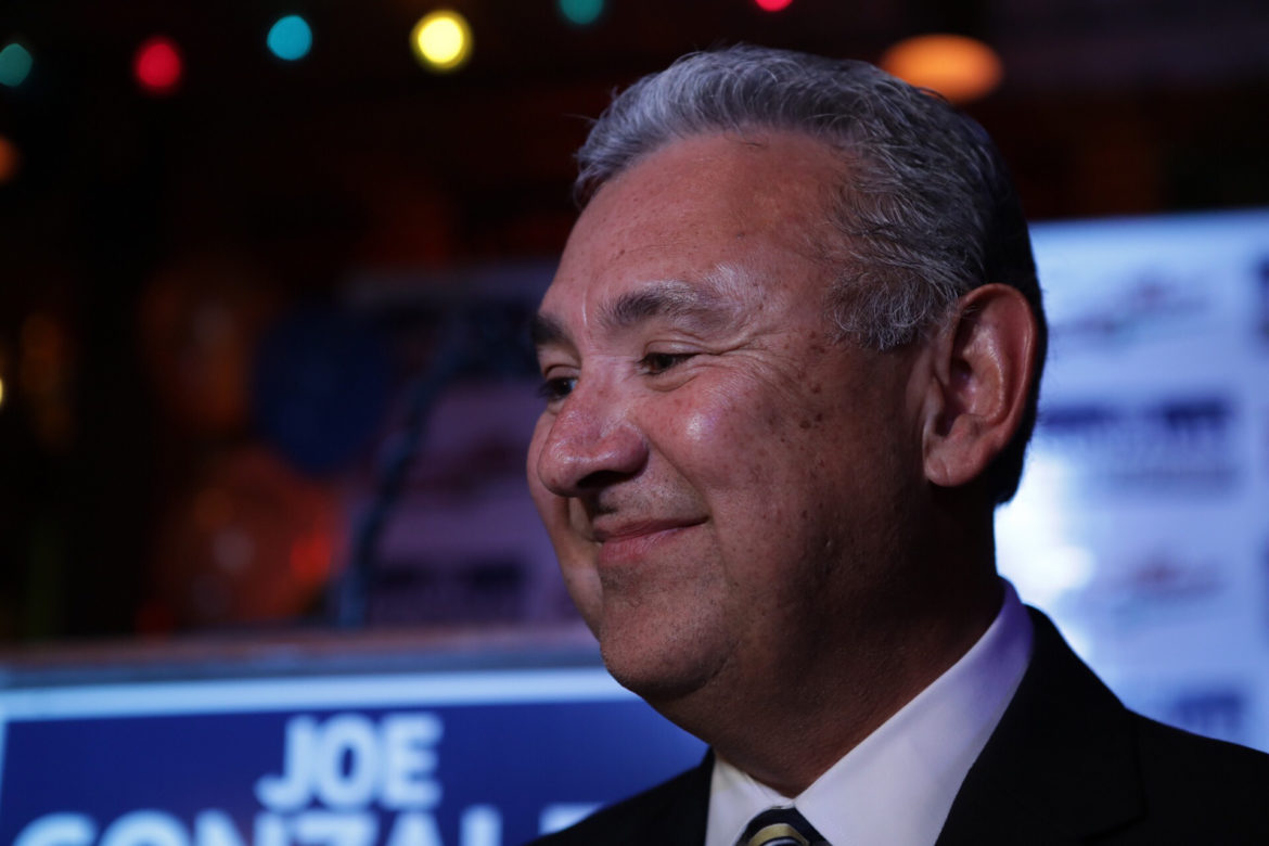 Joe Gonzales smiles as he prepares to give his victory speech in the democratic primary election against incumbent Nico LaHood.