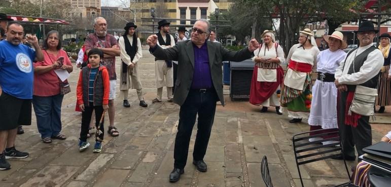 Joe Arciniega directs performers during El Nacimiento.