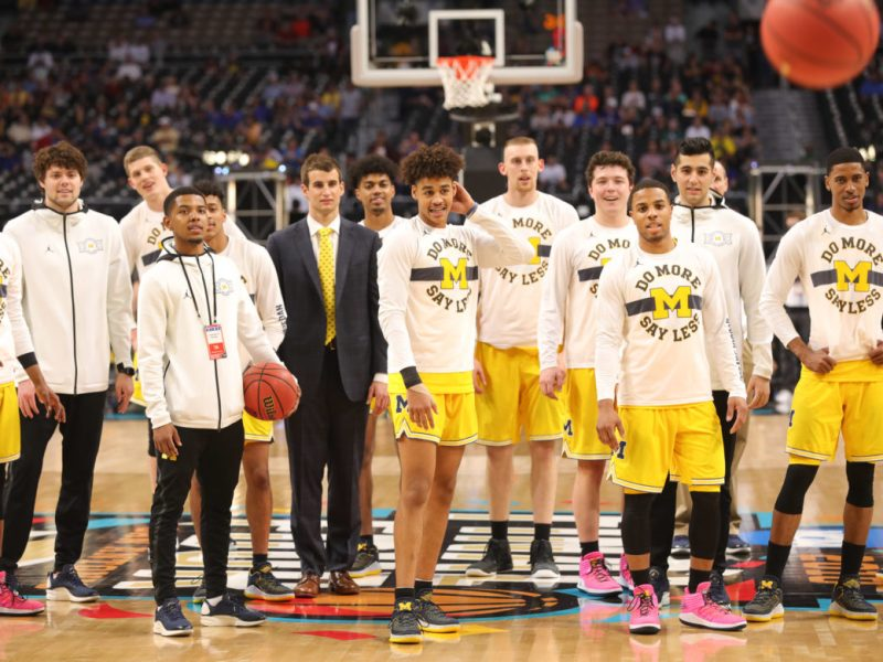 Michigan players prepare for their upcoming matchup against Chicago Loyola.
