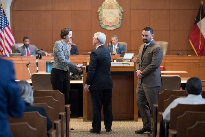 Confirmed SAWS Board Trustees Amy Hardberger, David McGee, and Eduardo Parra.