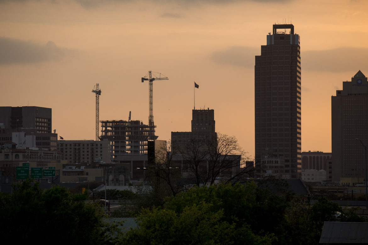 The city skyline as Frost Bank Tower continues to rise.
