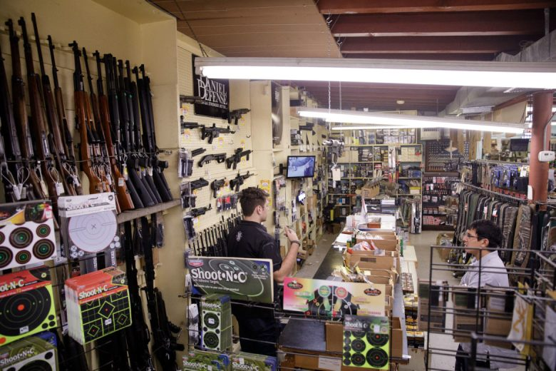 The tactical weapon section of Nagel's Gun Shop.