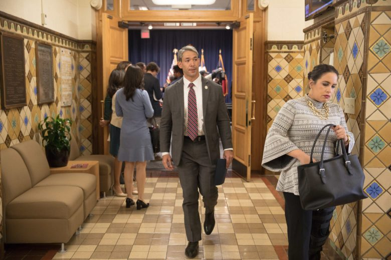 Mayor Ron Nirenberg exits the media briefing room at City Hall after asking the San Antonio Professional Fire Fighters Union to join in contract negotiations.