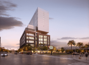 The proposed 20 story mixed-use tower at 1603 Broadway.