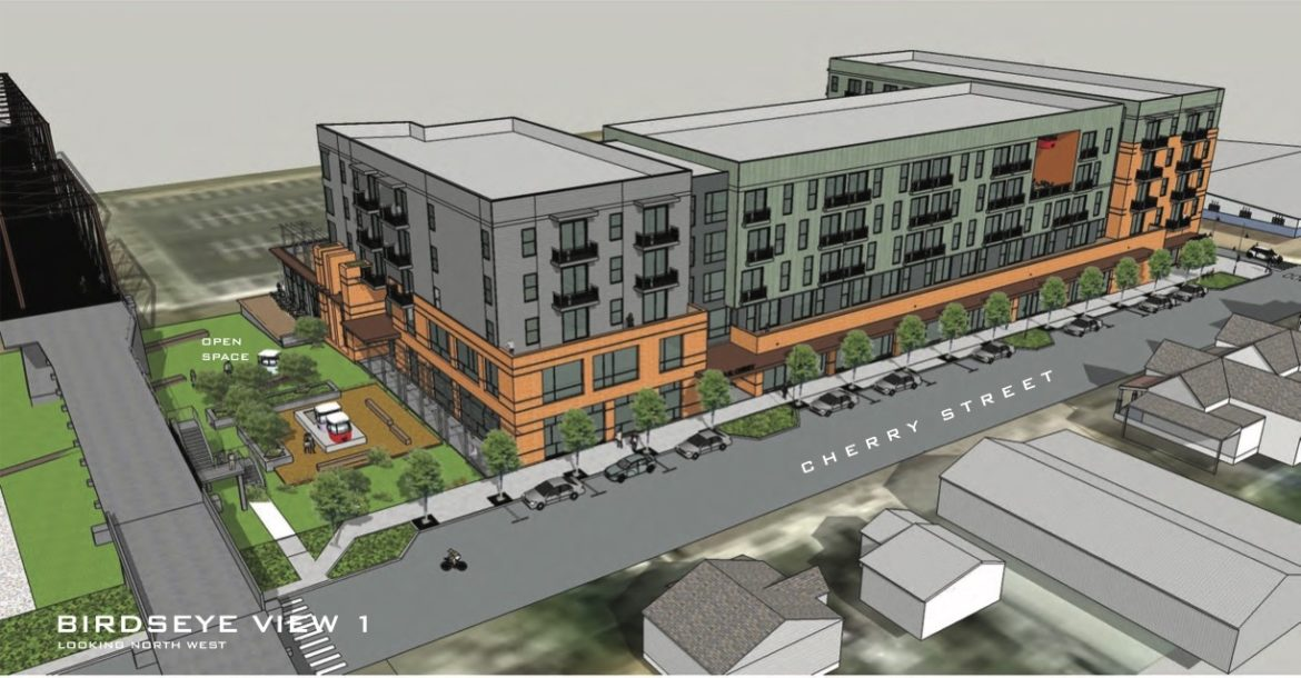 Developers propose this new design for a six-story apartment complex next to the Hays Street Bridge.