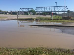 After heavy rains last week, the vacant lot next to the street and vacant lot north of the Hays Street Bridge retain water.