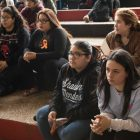 Advanced Learning Academy students listen to a panel in response to gun violence at Fox Tech High School.