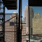 Downtown San Antonio can be seen through the sixth floor window of the Frost Tower construction site.