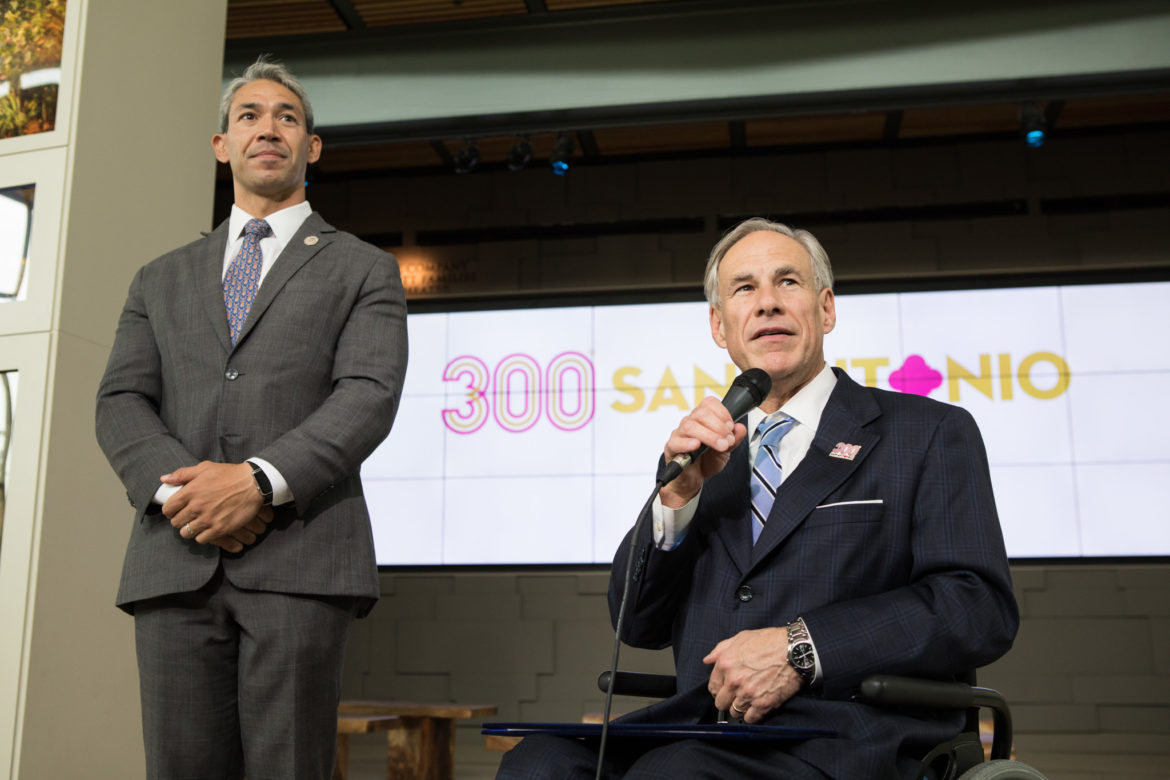 Governor Greg Abbott presents Mayor Ron Nirenberg with a proclamation celebrating the 300th anniversary of San Antonio's founding during Commemorative Week's History and Education Day.