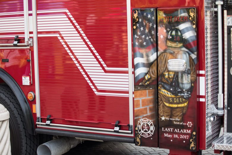 Station 35 received a new ladder truck during the ceremony, which unveiled a mural by San Antonio firefighter and artist Kris Dean.