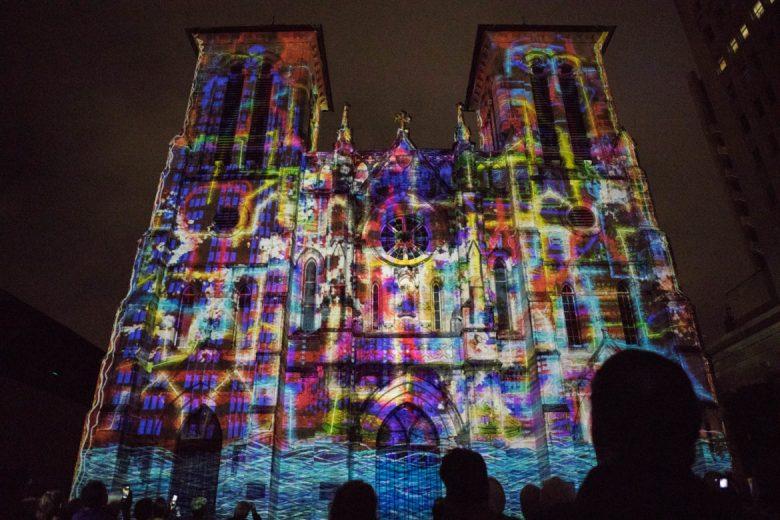 San Antonio | The Saga is projected on San Fernando Cathedral.