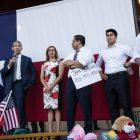 (From left) Joaquin Castro (TX-20), Mayor Ron Nirenberg, Congresswoman Shirley Gonzales (D5), State Rep. Diego Bernal (D-123), Congressman Rey Saldaña (D4), and Congressman Roberto Treviño (D1) speak to the crowd.