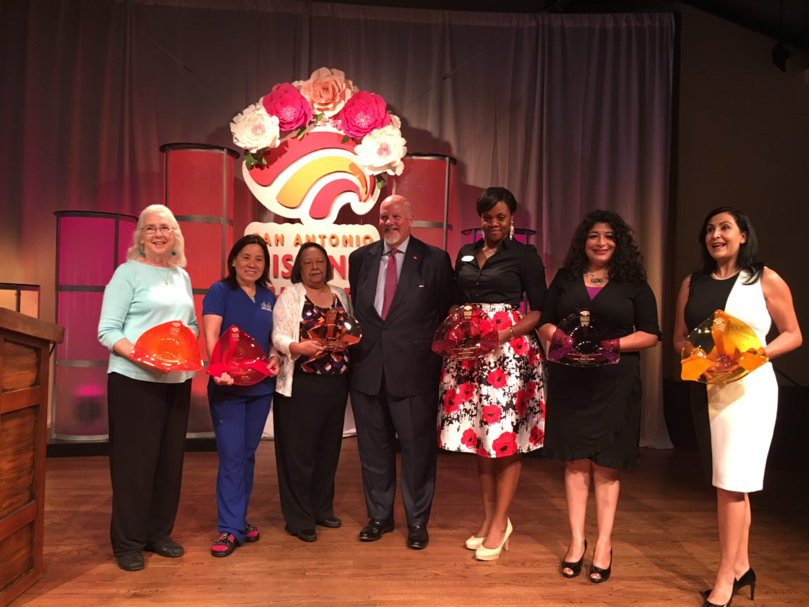(From left) Patti Radle, Siew Pang, Rosie Castro, John Agather, Shermeka Hudson, Jenee Margo Gonzales, and Adriana Cisneros are recognized at the ninth annual award ceremony honoring women leaders hosted by the San Antonio Hispanic Chamber of Commerce.